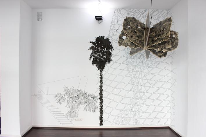 Simon Halfmeyer, Wandzeichnung / Skulptur Wild Island, galerie postel 2014